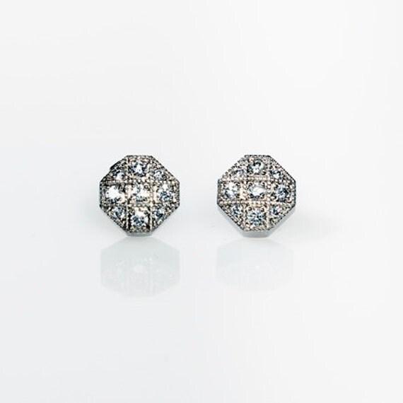 Diamond earring studs, Earrings, Diamond gold earrings, White gold earrings, Vintage style diamond earrings