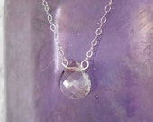 Swarovski clear heart crystal briolette necklace, on a sterling silver chain.
