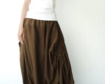 NO.26 Greenish Brown Cotton Asymmetric Harem Pants