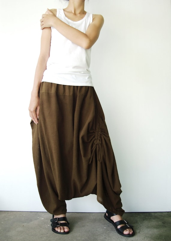 NO.26 Greenish Brown Cotton Asymmetric Harem Pants