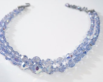 Vintage Double Strand Blue Crystal Necklace