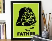 Star wars Poster movie art Print Typography Poster wall art in Green I am YOUR FATHER movie poster Star Wars movie A3 Poster Print Star wars