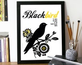 Beatles Poster Music BLACKBIRD Art print illustrated with Typography and Black bird- A3 size Poster art Beatles print