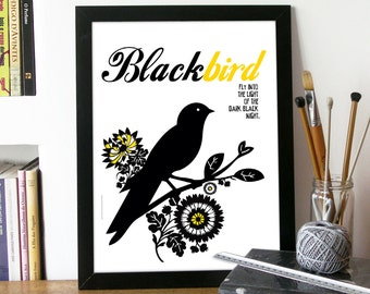 Beatles Poster Music BLACKBIRD Art print illustrated with Typography and Black bird Poster art Beatles print Blackbird Beatles song Poster