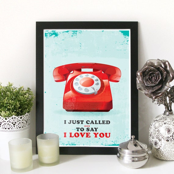 Music Poster Stevie Wonder Typography print vintage telephone I just called to SAY I LOVE YOU inspired from lyrics Vintage Poster telephone