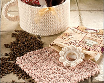 Gift Basket CROCHET PATTERN Java Lover's Coffee Set of (3) patterns
