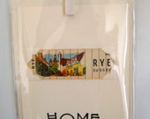 Home (moving/celebrating) greeting card. RYE, Sussex. Genuine 1930's playing card mounted. Blank inside.