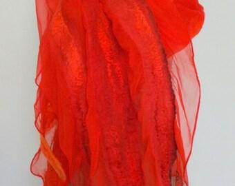 Nunofelt scarf, silk and merino wool, tomato-red