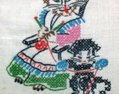 Cat Embroidery Wall Hanging, Handmade Cross Stich Mama Cat and Kitty Knitting Vintage Wall Hanging,