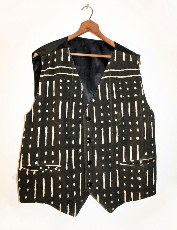 African Mud Cloth Vest 80s Vintage Woven Ethnic Tribal Men's L