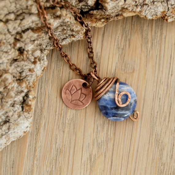 chakra jewelry - meditation - lotus charm necklace with blue sodalite gemstone