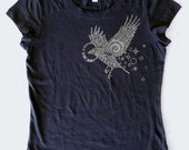 WOMEN'S Spirit Raven in Pale Gray on Midnight Bella Soft 100% Cotton Slim Fit Screen Printed T-Shirt