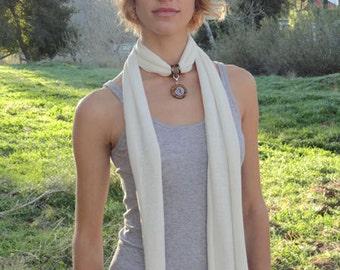 CRYSTALWEAR Chakra Balancing Hemp Jersey Scarf Necklace with Reiki-attuned Tiger's Eye pendant