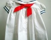 Vintage Girls Classic White Sailor Dress  - Multiple Sizes- New Never Worn