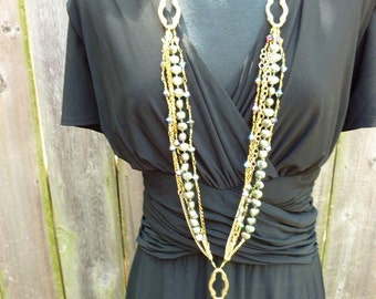 The Triple Threat - Upcycled necklace with vintage brass hardware, deep green pearls, charms, dangles - Handmade crazy over-the-top OOAK