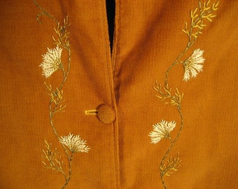 Hand-Embroidered Gold Corduroy Jacket in 100% Cotton