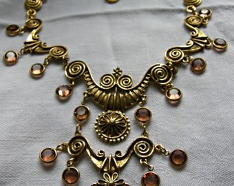 GOLDETTE Egyptian Revival Bib Necklace | Gold Tone Topaz Tone Crystal | Unsigned Goldette | Vintage 1958 - 1977