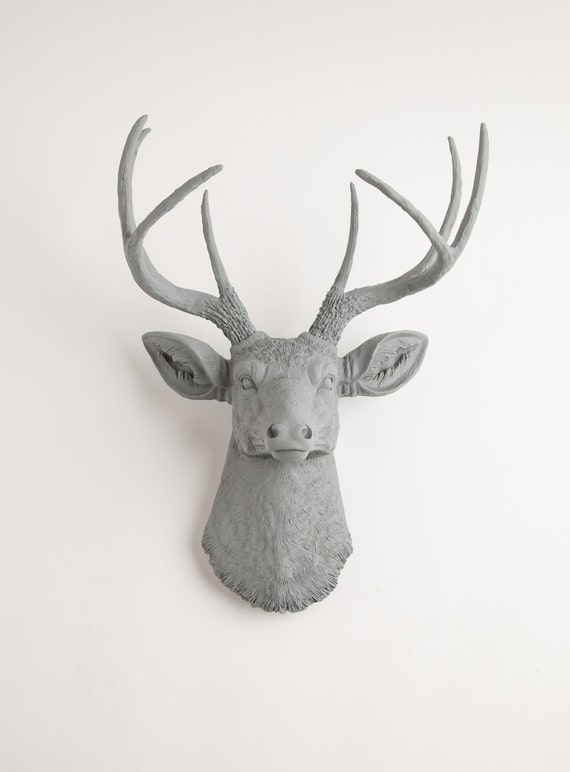 Faux Taxidermy Deer Head - The Geoffrey - Gray Resin Deer Head Hanging Wall Mount - Chic Stag Animal Decor by White Faux Taxidermy