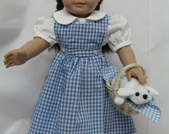 Dorothy Outfit (With Toto) and Ruby Red Slippers  for 18 inch doll like the American Girl.