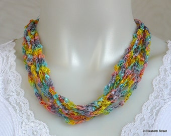 Rainbow Ladder Yarn Necklace - Pastel Ribbon Necklace in Spring Colors, Crochet Choker, Vegan Jewelry, Ready to Ship
