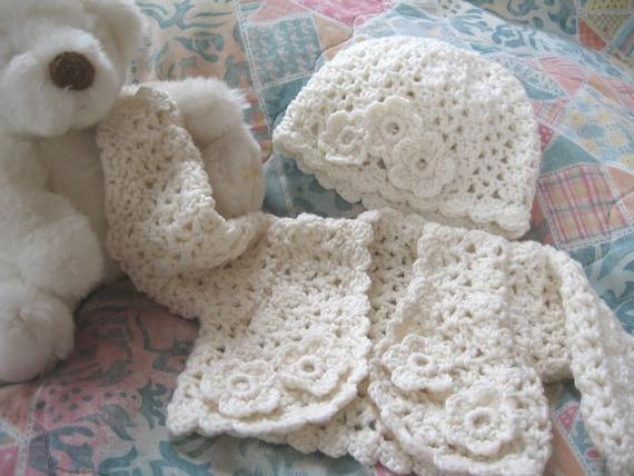 Crochet Baby Sweater Set - Cardigan Hat - Newborn to 3 months - FREE SHIPPING - Handmade by Amanda Jane in Ireland