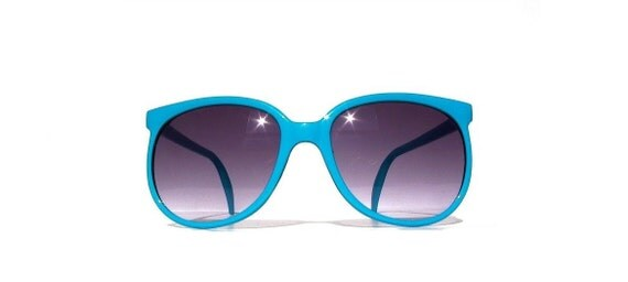 Turquoise Round Wayfarer Sunglasses, Blue Glasses with Grey Gradient Lenses