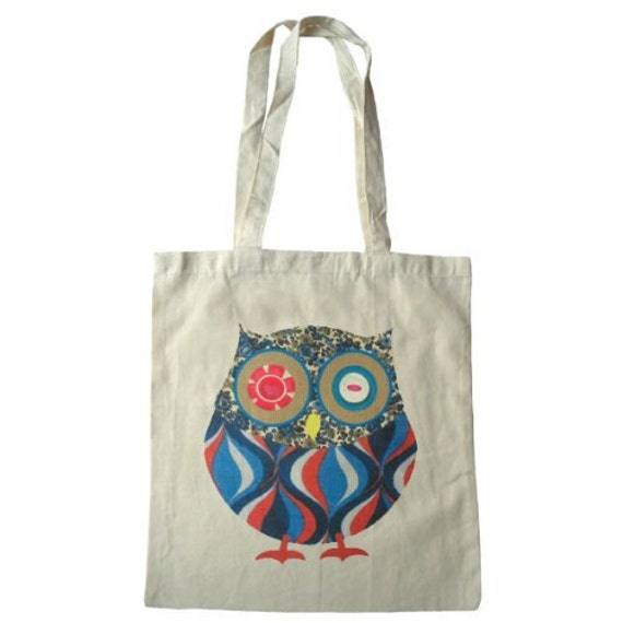 Owl cotton tote bag, vintage fabric and button design