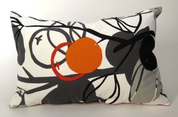 Fall SALE Down & Feather Insert Included  Fall Pillow Orange, Black Grey (Save on Two) FREE SHIPPING