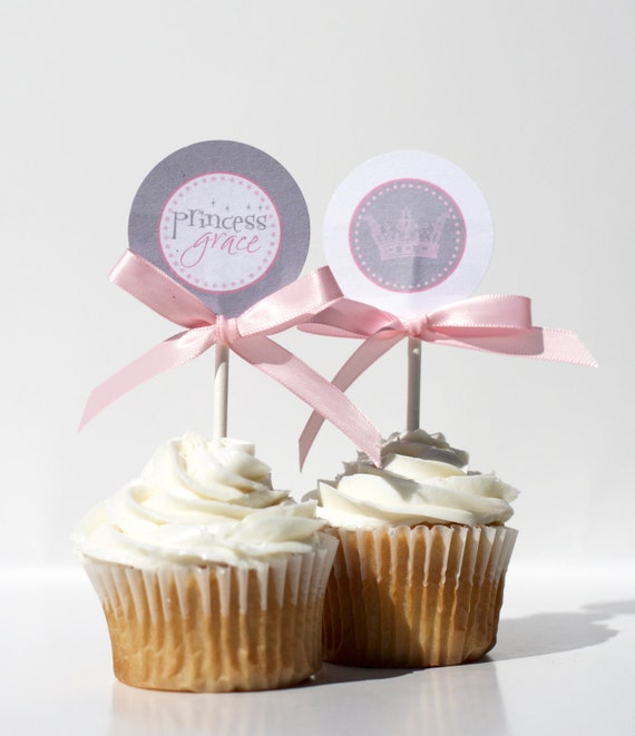 VINTAGE PRINCESS Birthday Cupcake Toppers Printable
