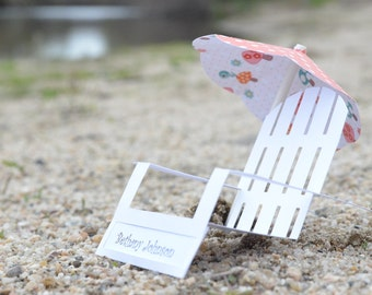 White Adirondack Chair Decorative Place Cards