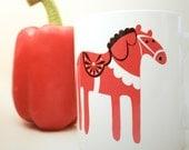 Dala Horse Mug - Scandinavain, Swedish inspired, Retro, Kitchen gift.
