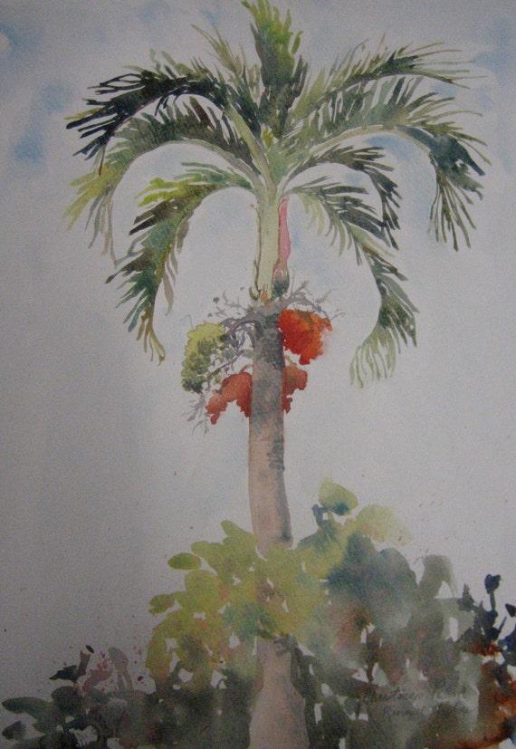 Original Watercolor Christmas Palm Tree Tropical Landscape
