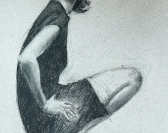 """Woman figure charcoal drawing on toned paper, digital print by artist Vernon Grant 12"""" x 16"""" Woman in Black Dress"""