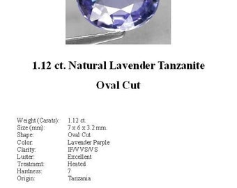 TANZANITE - 1.12 Carats of Gorgeous Definitely Lavender Tanzanite in a Striking Oval Cut...