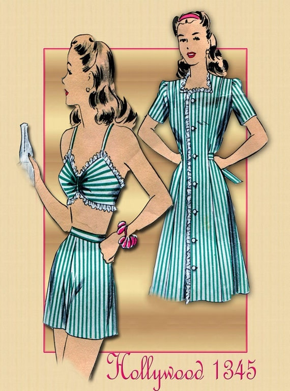 1940s Sunwear Pattern Vintage Hollywood 1345 Sun Suit Beach Wear Bra Shorts and Cover Up Dress WWII Era
