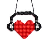Sparkly I Heart Music Love-Heart & Headphones Necklace - Gift for a dj / Musician / Music Lover - Red Black Silver or Custom Crystal Colour