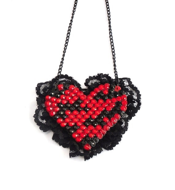 Sparkly Zebra Lace Heart Necklace - Red & Black Burlesque Jewellery - Custom Colour Tiger Striped Black Lace Rhinestone Love Heart Jewelry