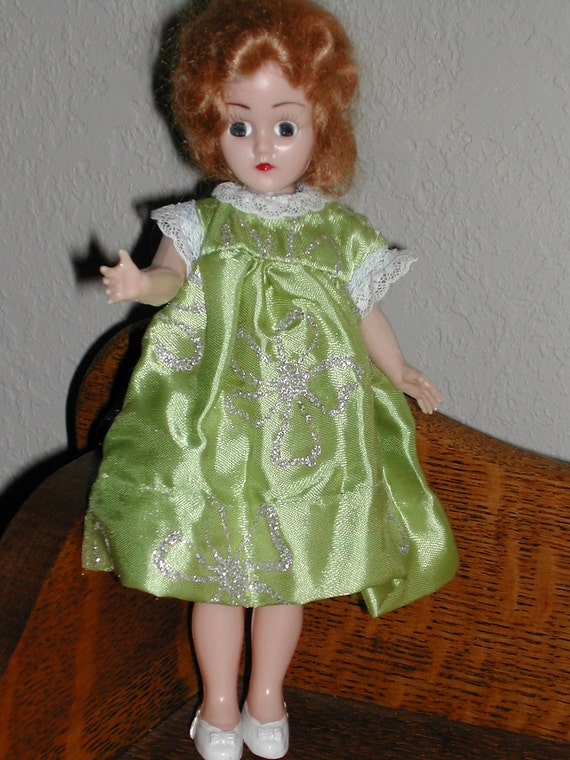 Plastic Doll Mohair Strawberry Blond Half Jointed Green Dress Vintage Toy