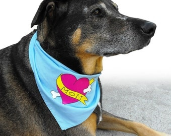 Mother's Day Dog Bandana with Dog Mom Tattoo, Mothers Day Gift from Dog