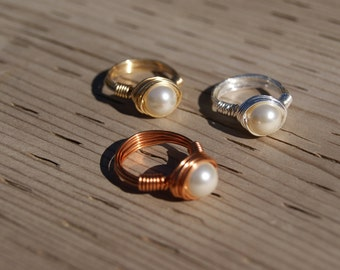 The Hunger Games Inspired  Peeta's Pearl Wire Wrapped Ring (3 Colours)