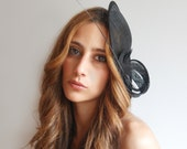 black sinamay fascinator with quill for women
