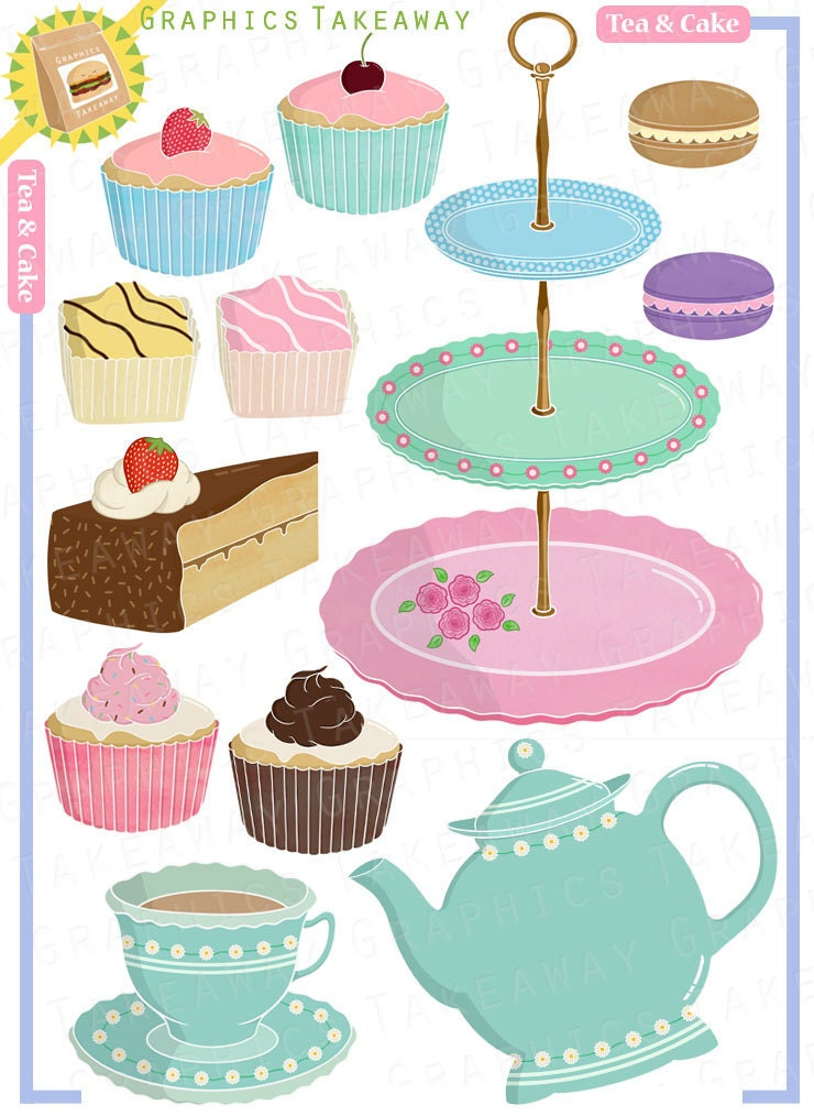 Free Clipart Tea And Cake : Tea and Cake Clipart/ Digital Collage by GraphicsTakeaway ...