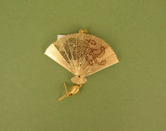 Vintage Gold Plated Asian Fan SMALL 56/48mm  -Functional - Two Sided -Opens and Closes