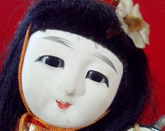 "Vintage Asian Japanese Geisha Kimono Fashion Doll from Japan (stands 8.5"" tall)"