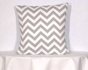 Throw Pillow Cover 16x16  inch Chevron Zig Zag Grey and White