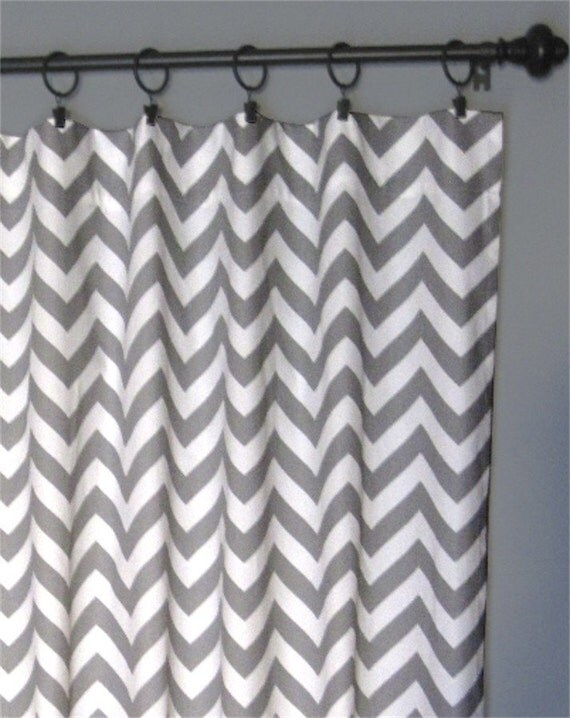 "84"" Grey Zig Zag Curtains - Two Chevron Curtain Panels - 50""x84"" - FREE SHIPPING"