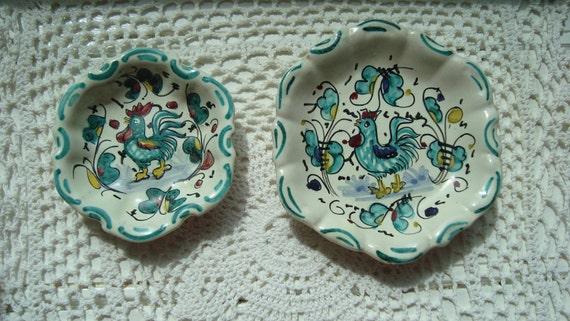 Italian Deruta Pottery Dishes - Vintage Collectibles - European Decor