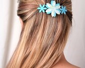 Sky blue hair claw, Sky blue accessory, Flower hair clip, Gift ideas for women, Gift ideas for teens, Blue barrette, Blue clip, Womens gifts