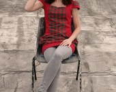 Tunic with cap sleeves, square neck and large pockets, red and green gingham check. Upcycled recycled repurposed, one of a kind