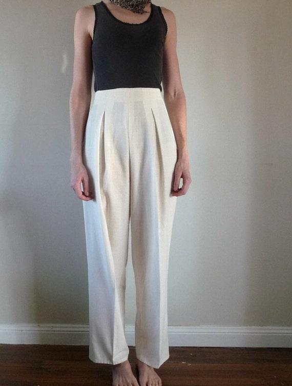 Pearl White High Waist Pleated Slacks Vintage Small
